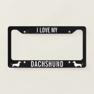 I Love My Dachshund - Wiener Dog Silhouettes Licence Plate Frame