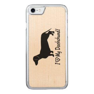 I Love my Dachshund with Paw Print Carved iPhone 7 Case