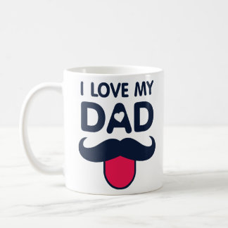 I love my dad cute moustache icon coffee mug