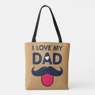 I love my dad cute moustache icon tote bag