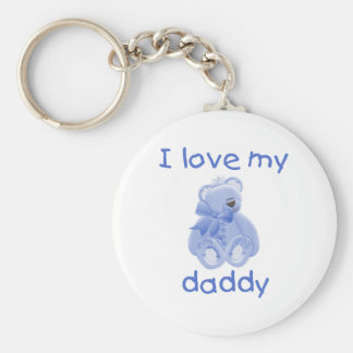 I Love My Daddy (blue bear) Basic Round Button Key Ring