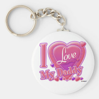 I Love My Daddy pink/purple - heart Keychain