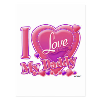 I Love My Daddy pink/purple - heart Postcard