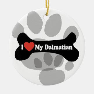 I Love My Dalmatian - Dog Bone Christmas Ornament