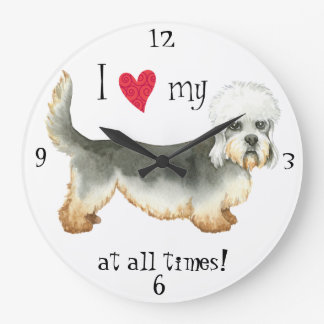I Love my Dandie Dinmont Terrier Large Clock
