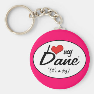 I Love My Dane (It's a Dog) Basic Round Button Key Ring