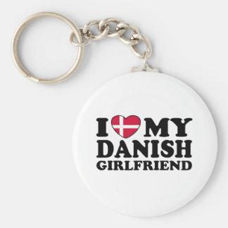 I Love My Danish Girlfriend Basic Round Button Key Ring