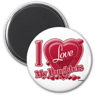 I Love My Daughters red - heart 6 Cm Round Magnet