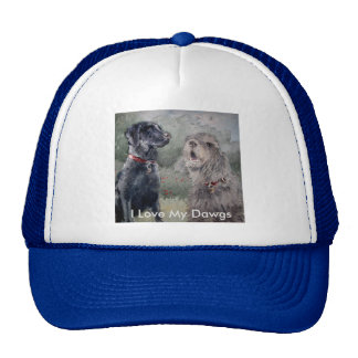 I Love My Dawgs. Black Labrador and an Otterhound. Cap