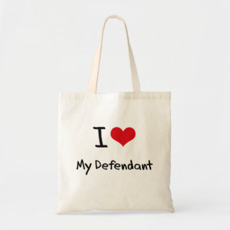 I Love My Defendant Tote Bags