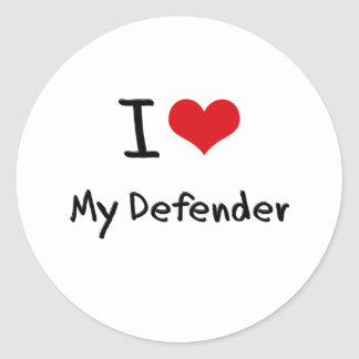 I Love My Defender Round Sticker