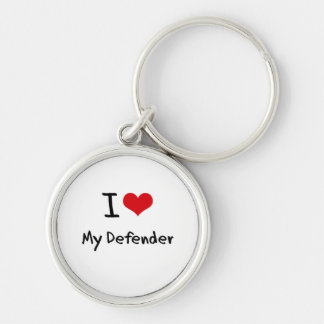 I Love My Defender Silver-Colored Round Key Ring