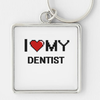 I love my Dentist Silver-Colored Square Key Ring