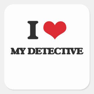 I Love My Detective Square Stickers