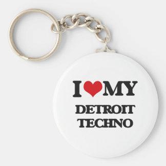 I Love My DETROIT TECHNO Basic Round Button Key Ring