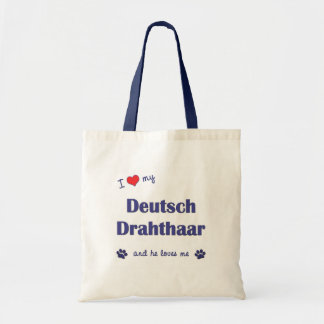 I Love My Deutsch Drahthaar (Male Dog) Tote Bag