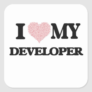 I love my Developer (Heart Made from Words) Square Sticker