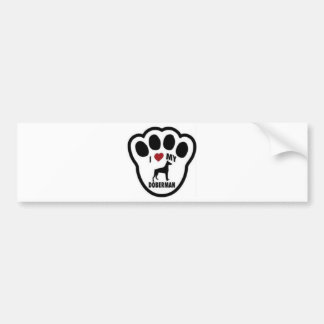 I love my Doberman paw print Bumper Sticker