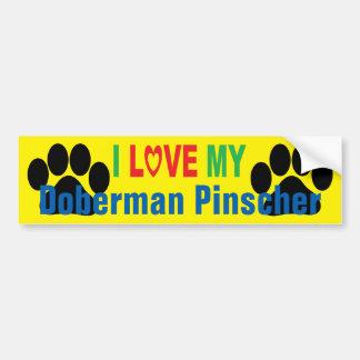 I Love My Doberman Pinscher Bumper Sticker