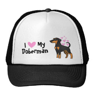 I Love My Doberman Pinscher (floppy ears) Cap