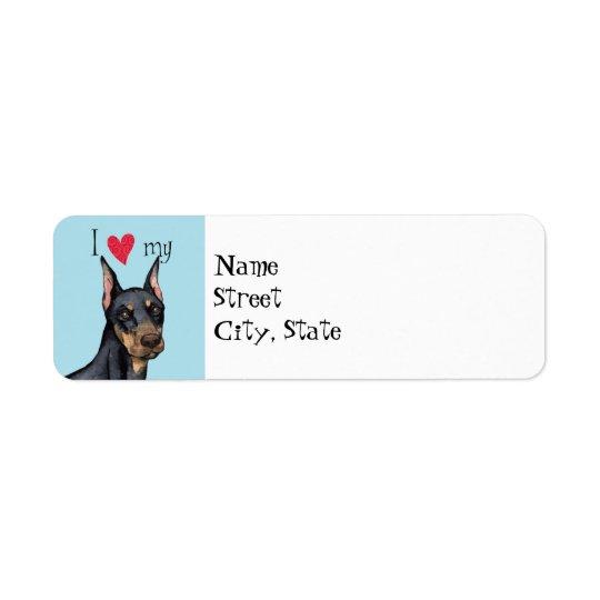 I Love my Doberman Return Address Label