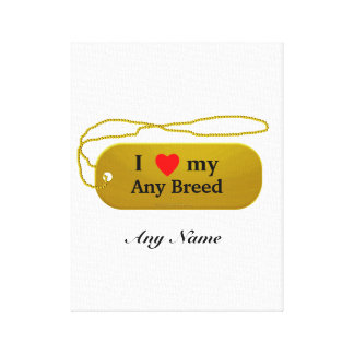 I love my dog breed gallery wrapped canvas