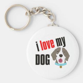 I Love My Dog Cartoon Basic Round Button Key Ring