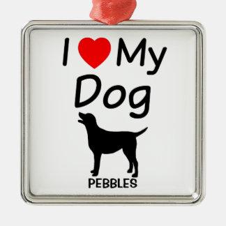 I Love My Dog Christmas Ornament