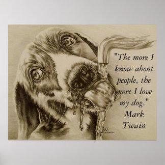 I Love My Dog - Dog Drinking Poster