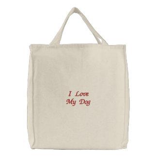 I Love My Dog Embroidered Bag