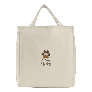 I Love My Dog Embroidered Tote Bags