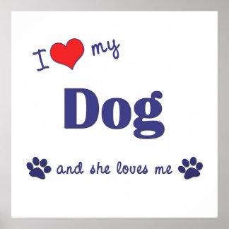 I Love My Dog Female Dog Poster
