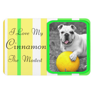 I Love my Dog Lime Green  Personalized Magnet