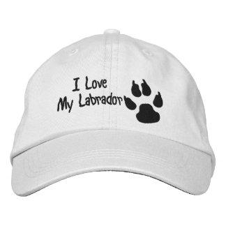 I Love My Dog Paw Print Embroidered Baseball Cap