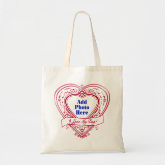 I Love My Dog Photo Red Hearts Canvas Bag