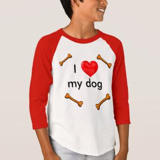 I LOVE MY DOG RED MID SLEEVE T SHIRT I HEART DOGS