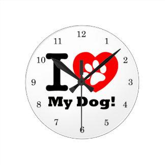 I Love My Dog Round Clock