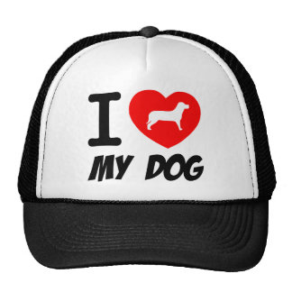 I Love My Dog Text With Red Heart Cap