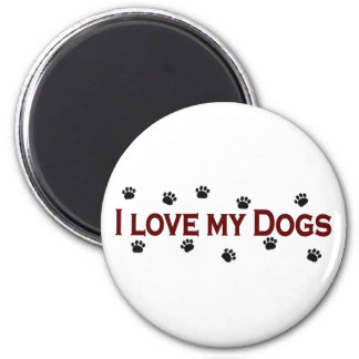 I Love My Dogs 6 Cm Round Magnet