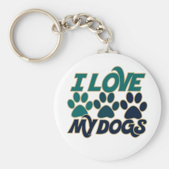 I Love my Dogs Basic Round Button Key Ring