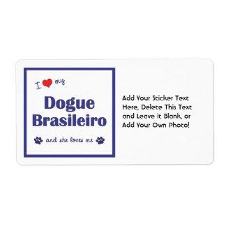 I Love My Dogue Brasileiro (Female Dog) Shipping Label