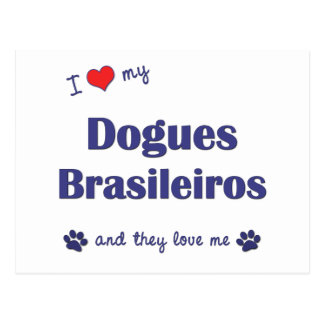I Love My Dogues Brasileiros Multiple Dogs Postcards