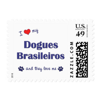 I Love My Dogues Brasileiros (Multiple Dogs) Stamp