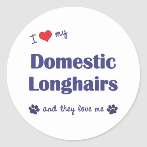 I Love My Domestic Longhairs (Multiple Cats) Round Sticker