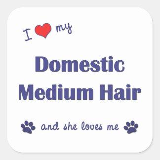 I Love My Domestic Medium Hair (Female Cat) Square Stickers