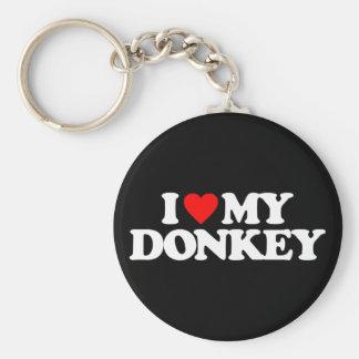 I LOVE MY DONKEY BASIC ROUND BUTTON KEY RING