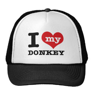 I Love my donkey Cap