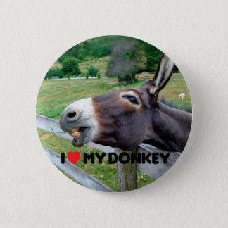 I Love My Donkey Funny Mule Farm Animal 6 Cm Round Badge