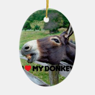 I Love My Donkey Funny Mule Farm Animal Ceramic Oval Decoration