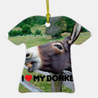 I Love My Donkey Funny Mule Farm Animal Double-Sided T-Shirt Ceramic Christmas Ornament